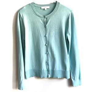 Loft Crewneck Cardigan Sweater Aqua Blue Green L